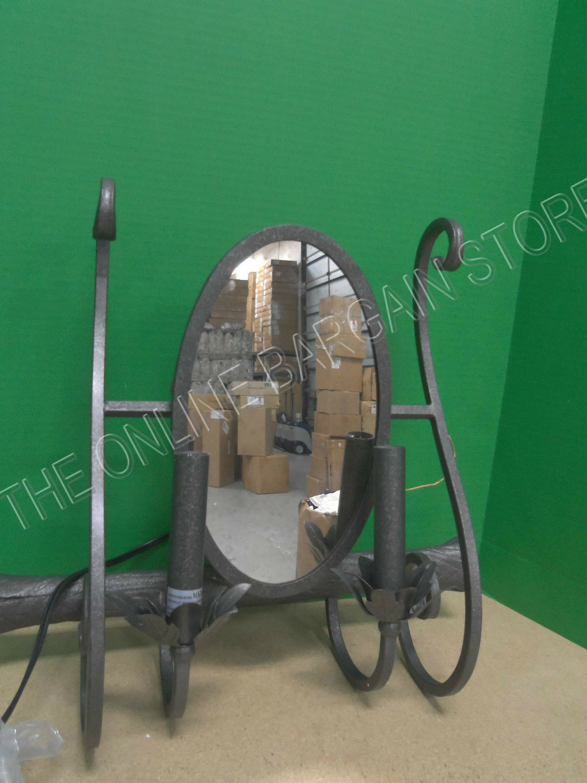 Ballard Designs Annabelle Wall Sconce Light Candle iron scroll Mirror Pewter