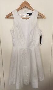 b2a2e8cfefb French Connection Solid Sleeveless A Line Fit   Flare White Dress Sz ...