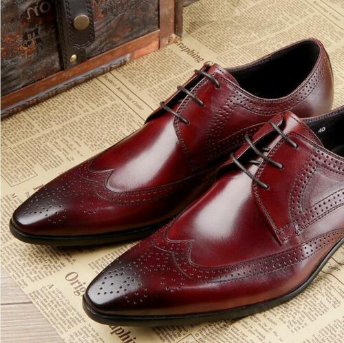 real Leather Pointed Toe Dress Formal wedding party Shoes Mens Brogues Wing Tip