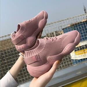 New-Women-039-s-Ulzzang-Running-Jogging-Shoes-knitting-Walking-Sneaker-Sports-Shoes