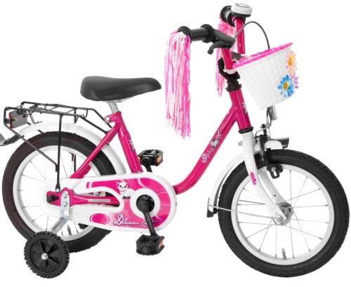 Kinderfahrrad 14 Zoll Fahrrad für Kinder Mädchen Kinderrad Mädchenfahrrad Katze