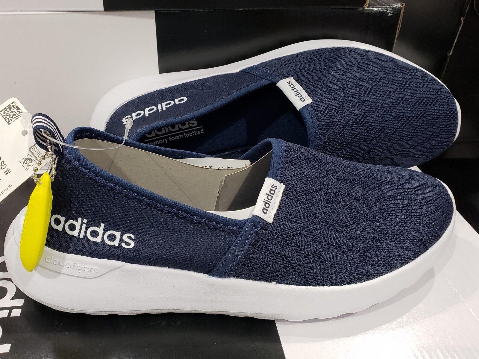Blue adidas women slip on Cloudfoam Lite racer shoes. Size 7
