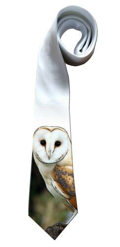 Idéal Fête Des Pères Cadeau Blanc soyeux Polyester par kazmugz Barn Owl Cadeau Cravate