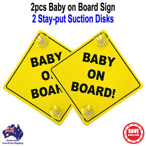 2pc-Baby-on-Board-Safe-Sign-2-Stay-put-Suction-Cups-Yellow-Plastic