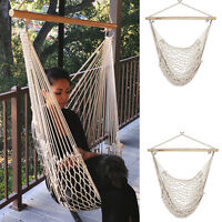 2 Swing Rope Hammock Porch Cotton Patio Garden Hanging Air Chair 200lb Cap on sale