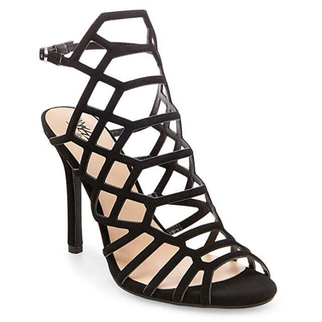 13b53507a402 Mossimo Women s Kylea Wide Width Caged Heel Strappy Gladiator Pumps Black  9.5