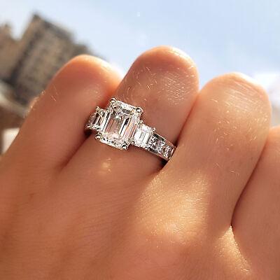 2 47 Tcw Emerald Cut 3 Stone Diamond Engagement Ring Gia Certified Ebay