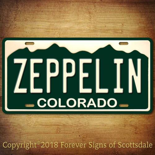Led Zeppelin Rock and Roll Band Colorado State Aluminum Vanity License Plate