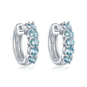 Image Is Loading 1 06ct Natural Aquamarine Hoop Earrings Solid 925