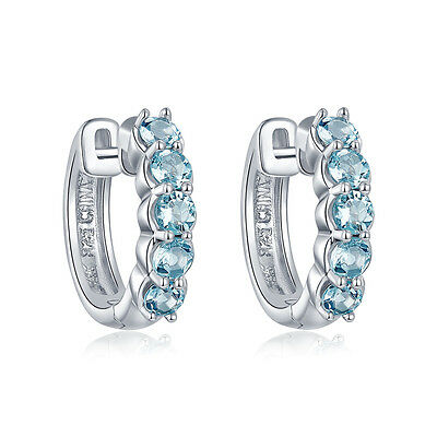1.06ct Natural Aquamarine Hoop Earrings Solid 925 Sterling Silver Birthstone New