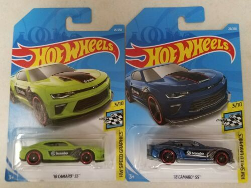 2019 Hot Wheels '18 CAMARO SS HW SPEED GRAPHICS BLUE & GREEN ~ Lot of 2 Colors