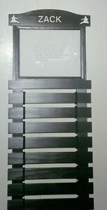 CUSTOM BLACK PAINTED KARATE BELT DISPLAY RACK 10 SLATS