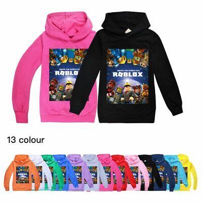 New Roblox Hoodies Kids Boys Girls Hooded Sweatshirt Autumn Jumper Tops Age 3-13