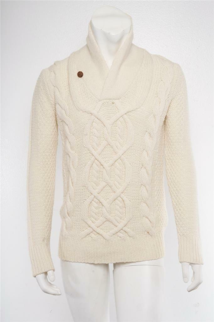 VINCE Mens Cream Ivory Chunky Woven Knit Fishermans Shawl Collar Sweater M