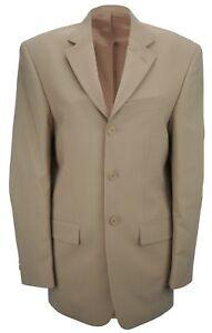 Simon Jersey Mens Single Breasted Wool Mix Suit Jacket Dark Beige Niedriger Preis