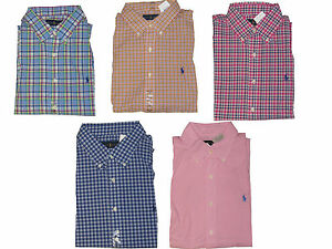 Polo-Ralph-Lauren-Mens-Plaid-Button-Down-Short-Sleeve-Pony-Logo-Shirt-New