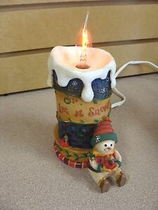 Details About Snowman Electric Candle Light Wax Like Light Bulb Looks Like Real Flame Resin