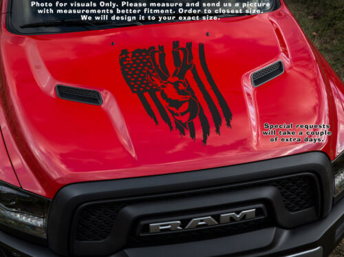 Antelope Nation one Buck on Tattered USA Flag hunting NRA decal sticker