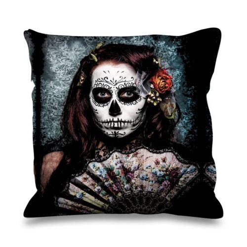 Goth Skull Day of The Dead Fan Girl Faux Silk 45cm x 45cm Sofa Cushion