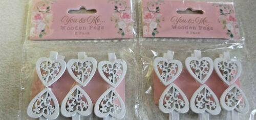 2 x 6 Coeur Blanc Mini Chevilles Motif Floral//Mariage//Memo BOSRD place Marker