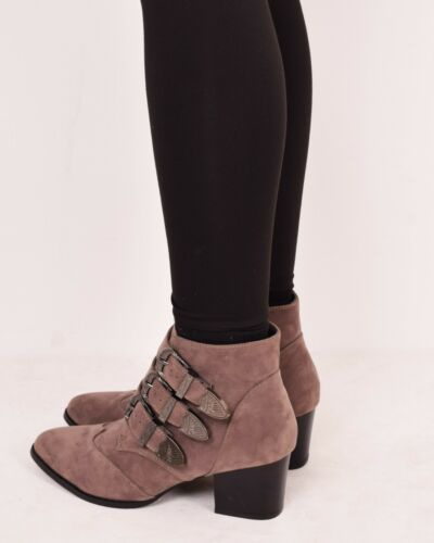 Ladies Womens Ankle Boots Mid Block Heel Buckle Casual Walking Shoes Sizes 3-8
