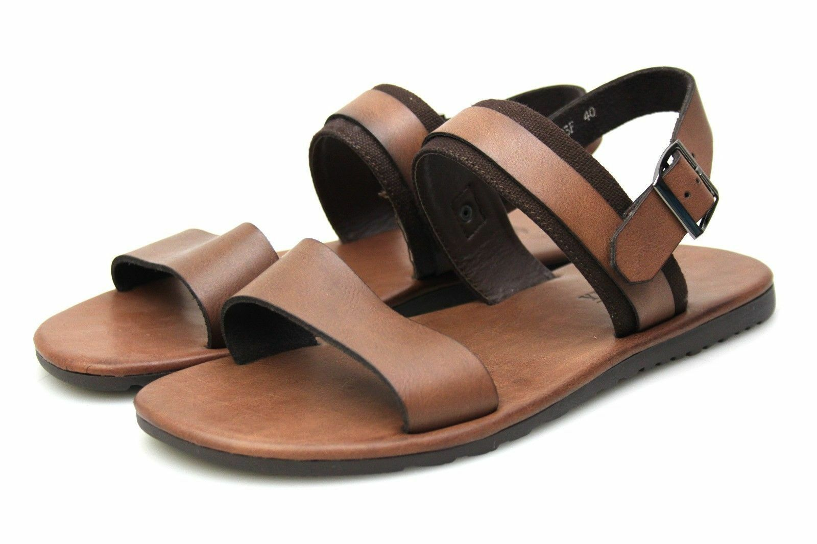 31c988e5f64 Mens Tan Brown Leather Summer Open Toe Strap Beach Sandals Holiday ...