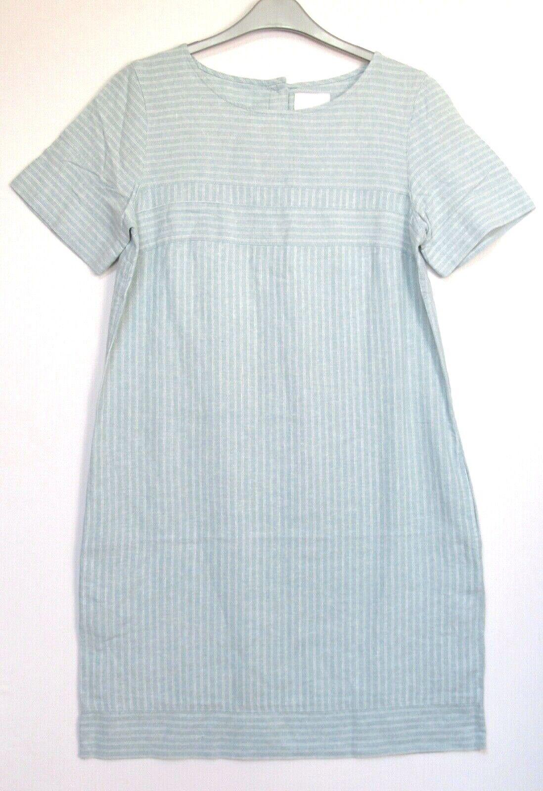 New Next Linen Blend Teal Striped Tunic Summer Holiday Dress - Size 8 - 20