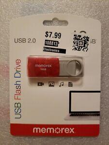 Memorex-USB-2-0-Flash-Drive-16-GB-Red-32020101621-NEW-SEALED