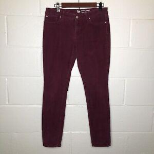 Gap Always Skinny Corduroy Pants Size 8 Burgundy