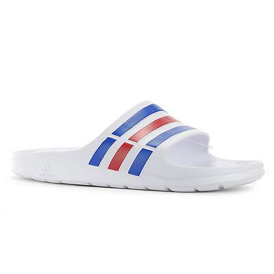 Adidas Duramo Slide White/Blue/Red Sandals Flip Flops U43664 NEW!
