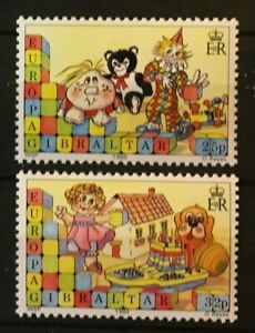 Children's Toys Europa mnh set 2 stamps 1989 Gibraltar #543-4 dolls puppy ball