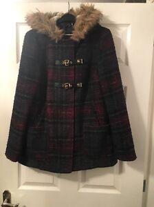 new look navy burgundy checked tartan duffle coat jacket size 12 ...