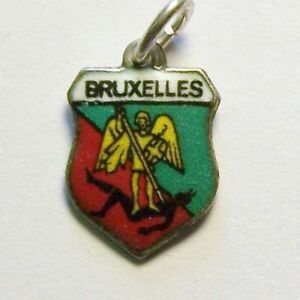 Vintage enamel SHIELD charm BRUXELLES