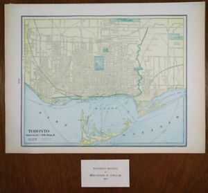 Antique-1902-TORONTO-CANADA-City-Atlas-Map-14-039-x11-034-Old-Vintage-ROSEDALE-OLD-MILL