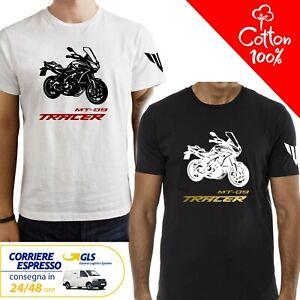 T-Shirt-Yamaha-MT-09-Tracer-uomo-Maglia-moto-nera-cotone-100-maglietta