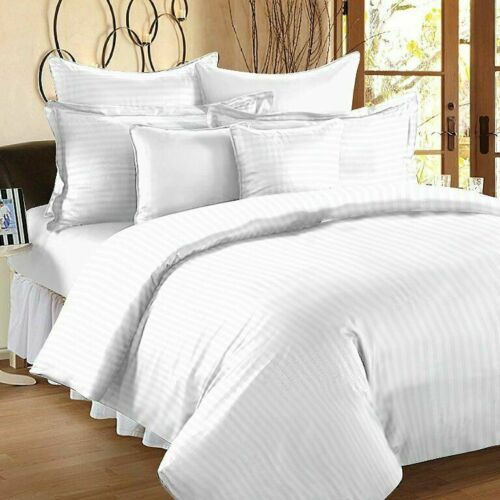 100/% Egyptian Cotton 600 Thread Count White Satin Stripe Bed Cover Sets