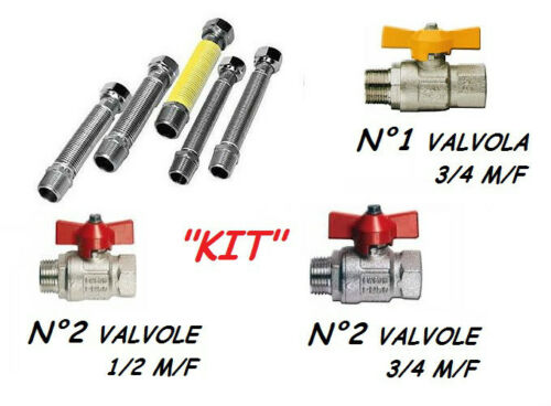Kit Universal Connection boilers 5 Flexible valves 1//2 3//4 Stainless gas water