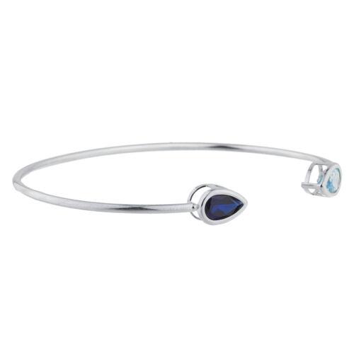 Saphir Bleu /& Topaze Bleue Poire Lunette Bracelet jonc argent sterling .925