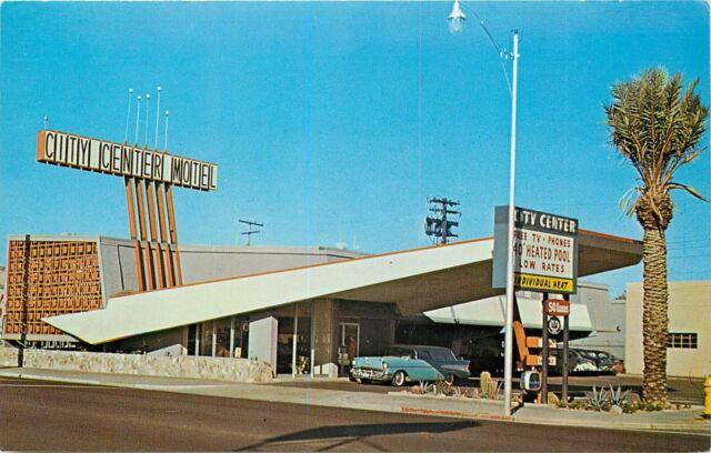 Chrome Postcard E236 AZ City Center Motel Phoenix Midcentury Modern MCM 1950 Car