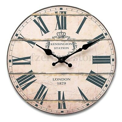 Large Wood Vintage Wall Clock Shabby Rural Antique Style For Home Office Decor