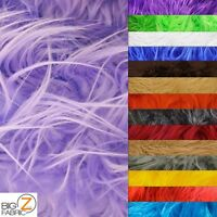 Solid Mongolian Faux Fur Fabric - 13 Colors Long Pile - Sold By The Yard Shaggy