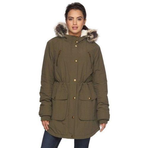 Women's Apt. 9 Hooded Faux-Fur Anorak Parka color  Green Size  M, MSRP