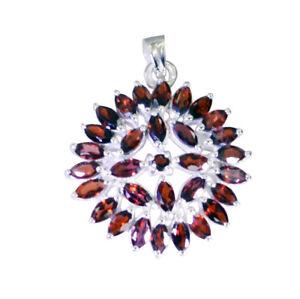 Granat-925-Sterling-Silber-rot-Anhaenger-echte-Lieferungen-de-Geschenk