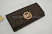NWT MICHAEL Michael Kors Signature MK PVC Fulton Carryall Wallet in Brown