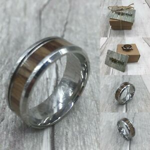 Men's Walnut Wood Inlay Titanium Polished Steel Band Ring & Velvet Gift Box