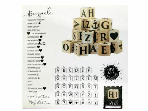 ... Advent Dekoration 16 Holzwürfel DIY mit Buchstaben und Symbolen Fest