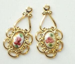 #1489F Vintage Guilloche Enamel Charms Pendants Flower Drops Pink Rose NOS