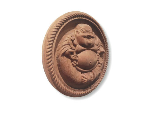 "Laughing Buddha Round Medallion Wall Plaque  6/"" D."