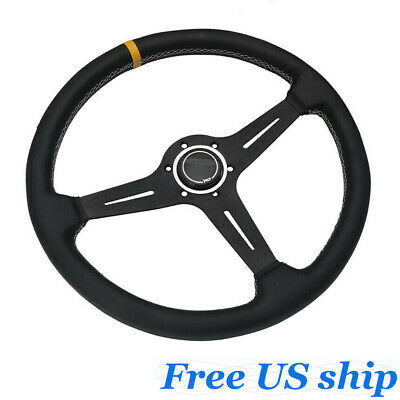 6 Bolt Steering Wheel with Black Perforated Leather Kyostar Universal 350mm Classic Steering Wheel