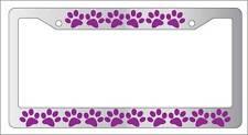 Chrome License Plate Frame PUPPY FEET (PURPLE) Auto Accessory